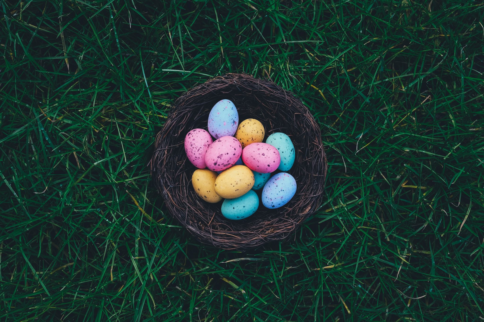 Colorful eggs in a brown basket on green grass